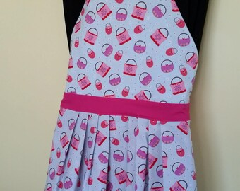 Reversible/ Pink and Purple basket apron