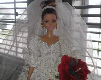 Fashion doll Crocheted Bridal Dress