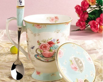 Fashion cups with painted spoon creative ceramic cups