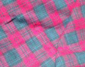 Cotton plaid flannel,  red plaid with green and blue lines, shirt material. 4 yards