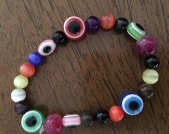 Chakra- Evil Eye Beaded Bracelet (Small)
