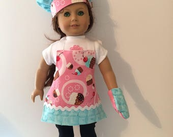 18 Inch Doll Clothes Cupcake Apron Set 3 Pieces Apron Quilted Mitt and Hat Also Fits American Girl Doll Clothes