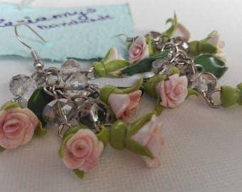 White roses earrings