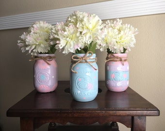 Easter/spring Mason Jar Set- Hand painted with twine bows