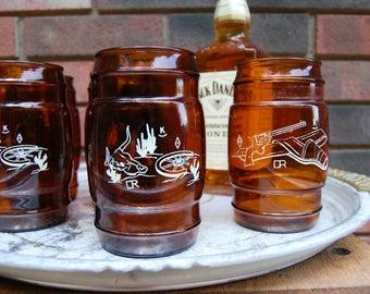 Western Siesta Ware Vintage Amber SiestaWare Western Cowboy Glassware
