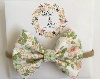 Green Flowers Bow | Headband