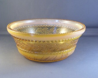 Antique Holly Amber Bowl Greentown Glass