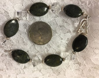 Green Jasper and Swarovski Bracelet, Beautiful Bracelet, Green Bracelet, Semi-Precious Stone Bracelet