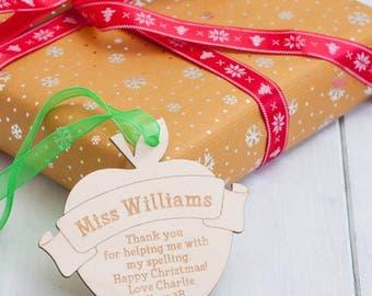 Personalised Birchwood Teacher Christmas Baubles