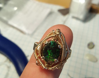 Andamooka opal wire wrapped ring