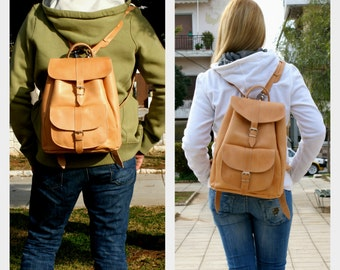 large leather backpack/ natural colour backpack/travel backpack/leather knapsack/leather rucksack/carry on bag/student leather bag/code 160