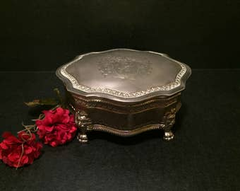 Ornate Silverplated Box with Hinged Lid