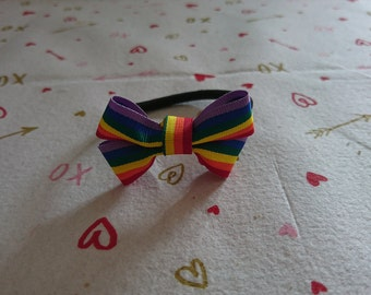 Rainbow bow on a bobble