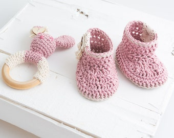 Baby crochet rattle and baby shoes , handmade rattle and shoes ,baby set
