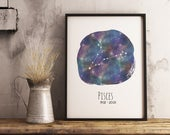 Pisces Birthday Gift Constellation Art | instant download, astrology print, home decor, zodiac wall art, last-minute gift, printable art
