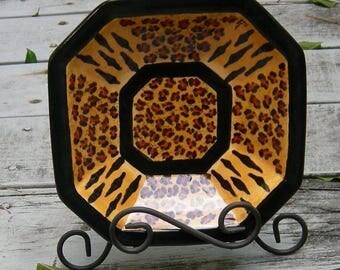 "8.25""Custom Exotic LEOPARD PRINT/Tiger 8-sided Serving Bowl, Hand Painted Ceramic Bowl, Animal Print, Wedding Gift, Signature Leopard Print"