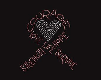 Rhinestone Breast Cancer Butterfly  Ladies T Shirt or DIY Iron On Transfer              T5UR/ATT7