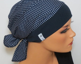 Head scarf Hat/CHEMO Hat dark blue white alopecia or hair loss spotted ideal for chemotherapy