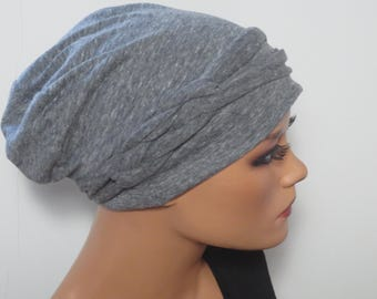 Cool BEANIE/Hat + braided belt light and airy light grey mottled fashionable practically easy turban