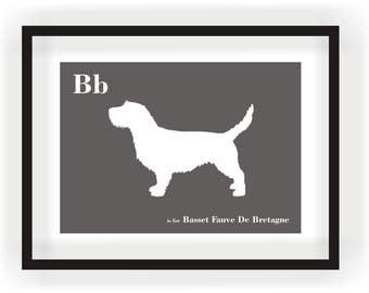 Basset Fauve De Bretagne - Dog Art - Alphabet Breed Silhouette Basset Fauve De Bretagne