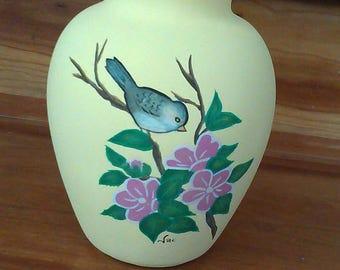 Chickadee vase hand painted