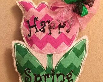 Happy Spring, custom made, hand painted Burlap door hanger
