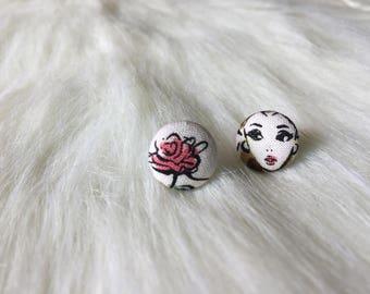 Vintage Belle Fabric Button Earrings
