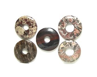 5 Donut Ring Round Semiprecious Gemstones Gem Component Beads Mixed Jasper and agate jewels set, 1 Tiger Iron Gem, semi precious DIY rounds