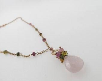 Beautiful Hand Made Ladies Silver 925 Necklace with Rose Quartz Stone and Gold Plating