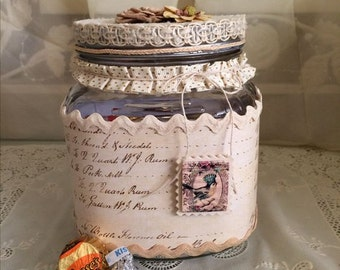 Beautiful Vintage Style Square Mason Jar