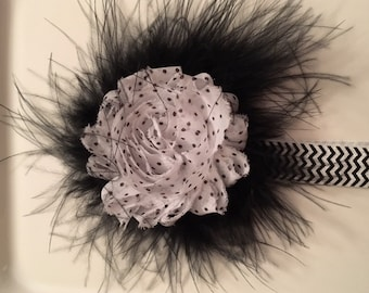 Black and white headband with polka dot chiffon flowers and feathers.  Handmade.