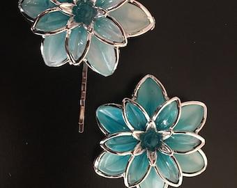 Blue Acrylic Flower Bobby Pin, Lotus Acrylic Flowers, Bobby Pin