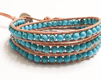 Handmade Turqouise Triple Wrap Bracelet