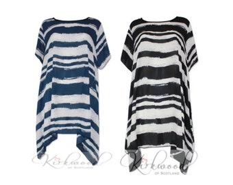 Resort Kaftan Style White Stripe with Black/Navy great for beach cover ups, resort wear, Lounge-wear Maternity