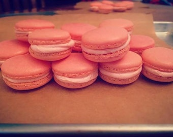 Raspberry Cream Macarons