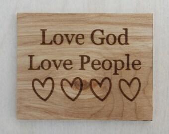 Love God Love People Woden Magnet, Heart Magnet, Wood Magnets, Love God Love People, refrigerator magnet, Religious Home Decor