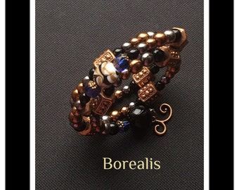 Memory Wire Bracelet Harmonic Spring Spiral beads of Bohemia