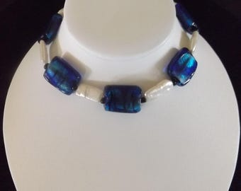 Blue and Opalescent White Beaded Necklace