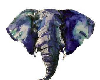 Watercolor Elephant, 8x8 Giclee Print, Nursery, Child's Room, Wall Decor