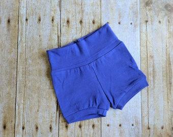 Purple baby shorts. 3 months.  Solid purple.  Foldover waistband.  Yoga shorts.  Cuffs.  Handmade.  Baby shower gift.  Purple lover.  Cute.