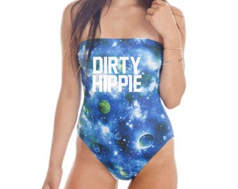 Dirty Hippie Strapless Bandeau One Piece Bathing Suit Cosmo Bathing Suit Cosmo Swim Suit Hippie Bathing Suit Hippie Bathing Suit One Piece
