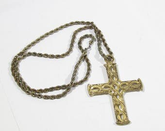 vintage necklace big pendant cross