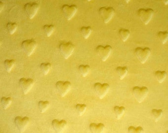 Velvet minkee fabric soft relief yellow hearts 50 x 150cm