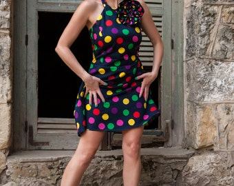 Colorful, polka dot, waist dress with amazing  boutonniere