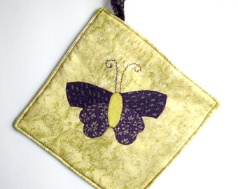 Handmade Potholder with Insulated Heat Resistant Lining and Butterfly Applique