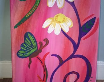 Flowers and butterfly canvas painting