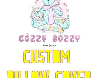 Custom pillow cover, Custom pillow case, Custom baby bedding, Custom crib bedding, Custom nursery bedding, Custom bedding,Customized bedding