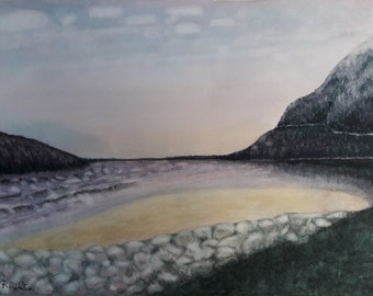 Aquarel Painting Mountain Landscape with Brick Wall on The Beach on A3 Paper Size, Wall Art Decor for The Living Room