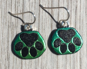 Dichroic Fused Glass Earrings - Green Blue Laser Engraved Etched Dog Paw Print Earrings with Solid Sterling Ear Wires