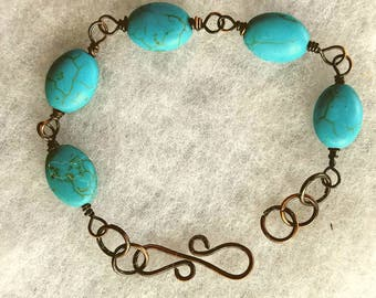 Turquoise Ceramic Antiqued Copper Bracelet. Free Shipping